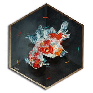 Twin Goldfish in box, gold lined - Original Art - Haze Long Fine Art & Resources Store