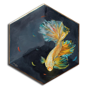 Yellow Betafish in box, gold lined - Original Art - Haze Long Fine Art & Resources Store