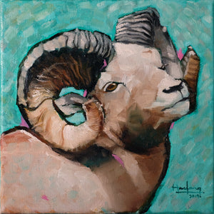 Ram in Green - Original Art - Haze Long Fine Art and Resources Store