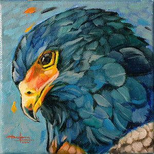 Bateleur Eagle in Blue - Original Art - Haze Long Fine Art & Resources Store