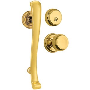 Rourke Push Pull Rotate handleset with Stafford interior knob and Almarrion deadbolt in Polished Broass