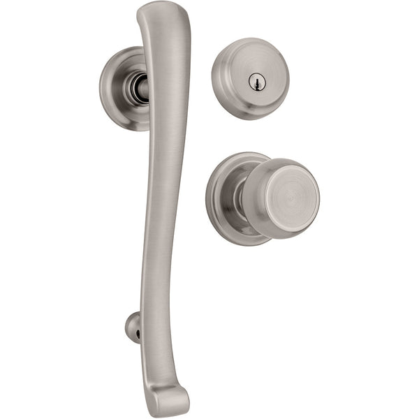 Rourke Push Pull Rotate handleset with Stafford interior knob and Almarrion deadbolt in Satin Nickel