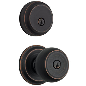 Stafford Push Pull Rotate door knob with Almarrion deadbolt in Tuscan Bronze
