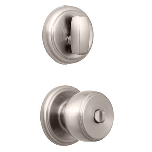Ganyon Push Pull Rotate keyed entry knob and Amberhall deadbolt satin nickel interior