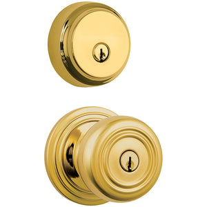 Webley Push Pull Rotate door knob with Almarrion deadbolt in Polished Brass