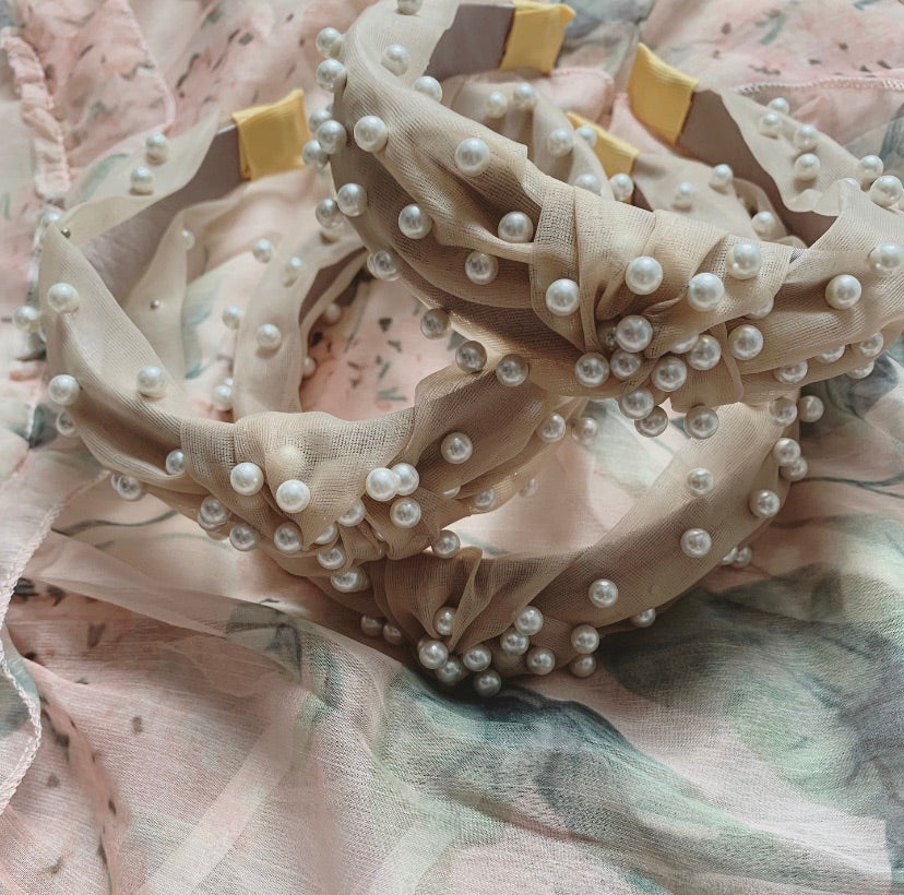 Yellow beige summer lace pearl hairband