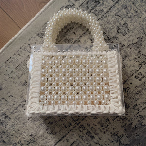 Pearl and Perspex bag all white (4-6 days delivery )