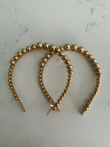 Gold pearl hairband with comb