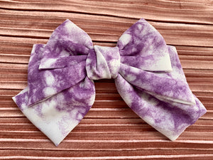 Tie dye handmade oversized hair bow