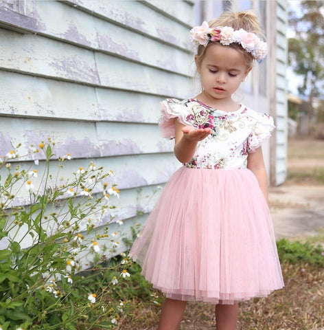 Sadie Floral Tutu (Dress / Romper) - White