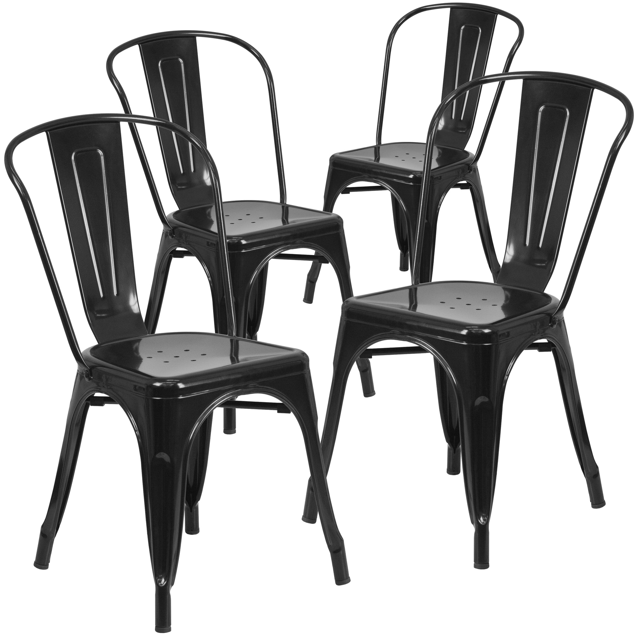 4 Pk. Metal Indoor-Outdoor Stackable Chair: Black-Antique Gold