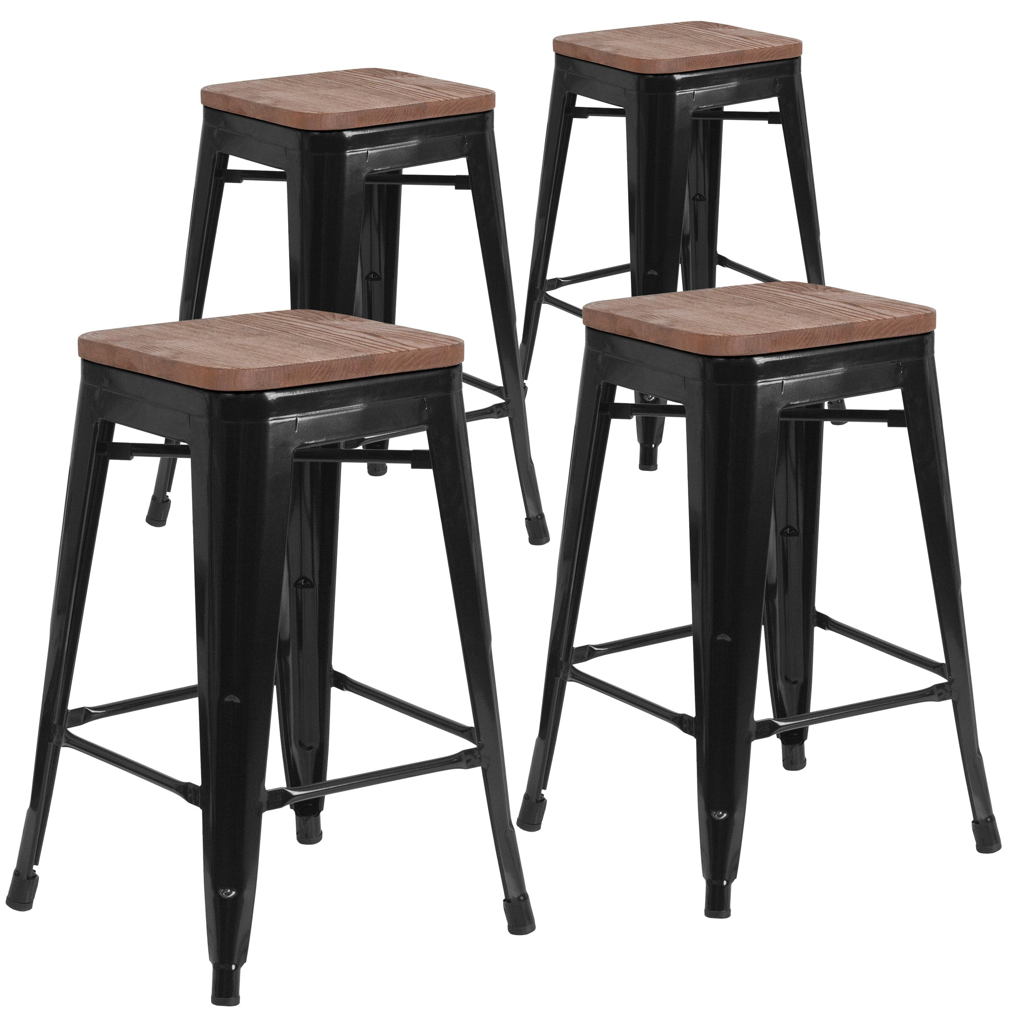 Swell 4 Pk 24 High Backless Metal Counter Height Stool With Square Wood Seat Black Machost Co Dining Chair Design Ideas Machostcouk