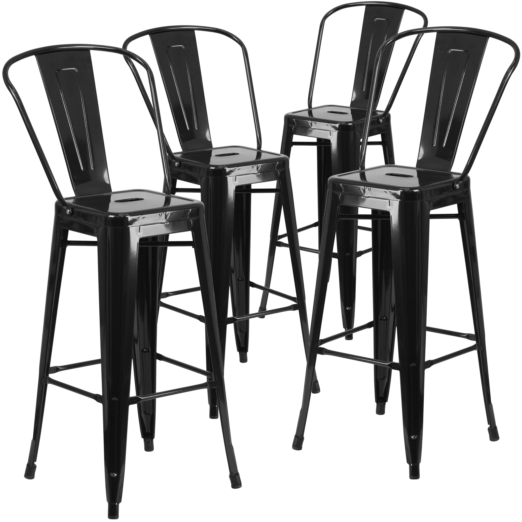 4 Pk. 30'' High Metal Indoor-Outdoor Barstool with Back: Black