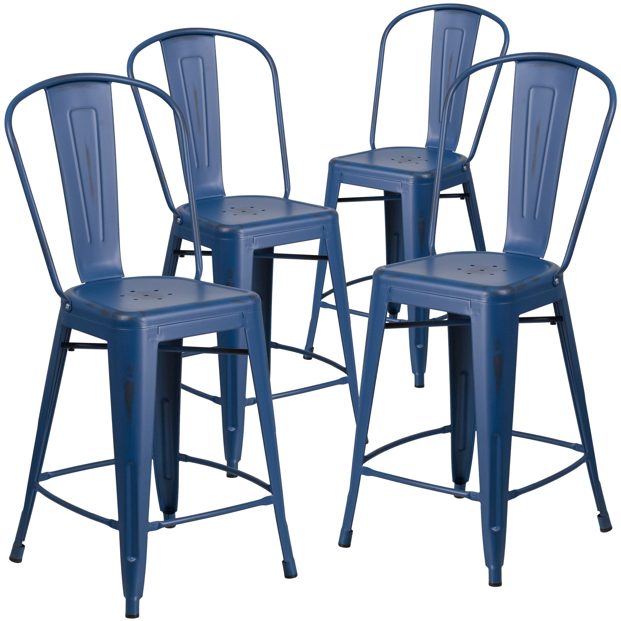 4 Pk. 24'' High Distressed Metal Indoor-Outdoor Counter Height Stool with Back: Antique Blue