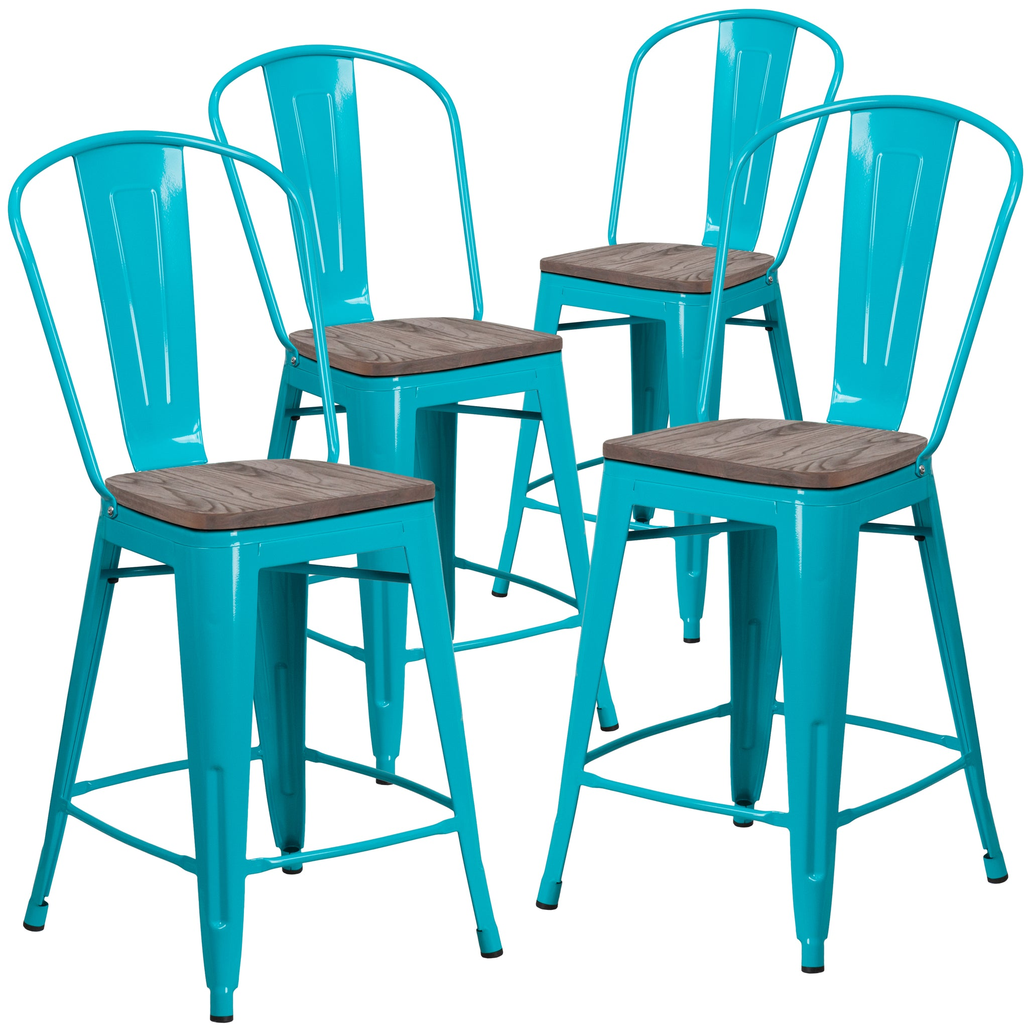 Tremendous 4 Pk 24 High Metal Counter Height Stool With Back And Wood Seat Copper Lamtechconsult Wood Chair Design Ideas Lamtechconsultcom