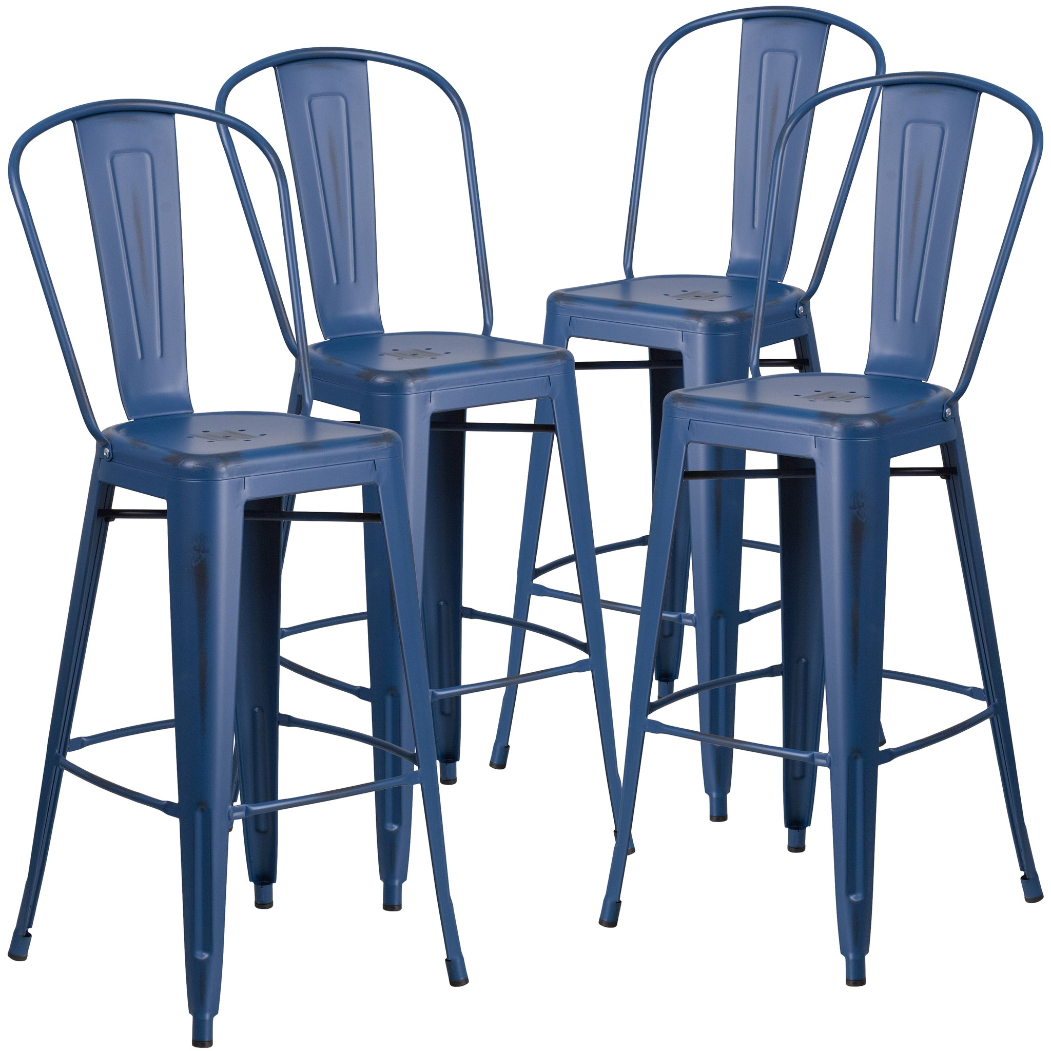 4 Pk. 30'' High Distressed Metal Indoor-Outdoor Barstool with Back: Antique Blue