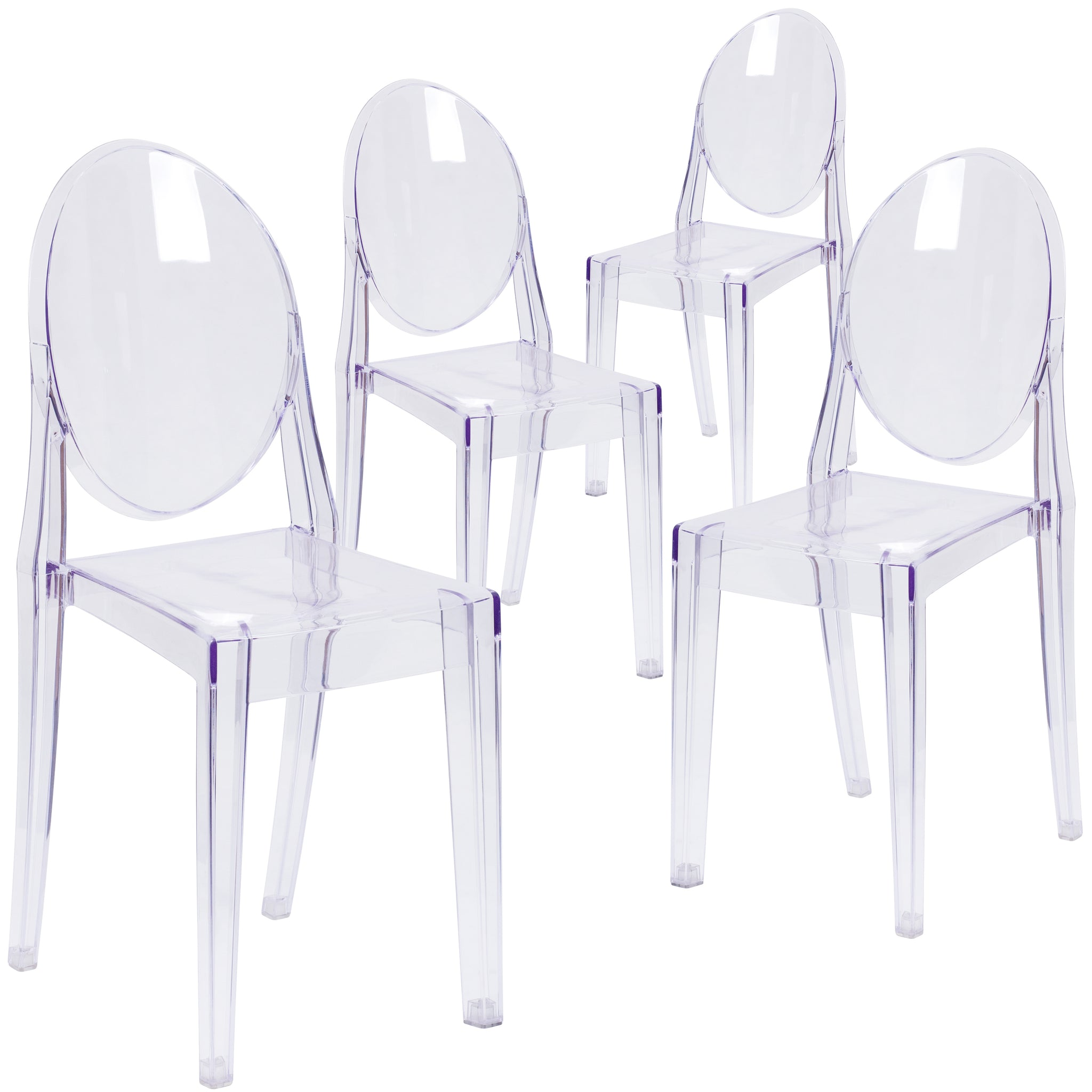 4 Pk. Ghost Side Chair in Transparent Crystal: Clear
