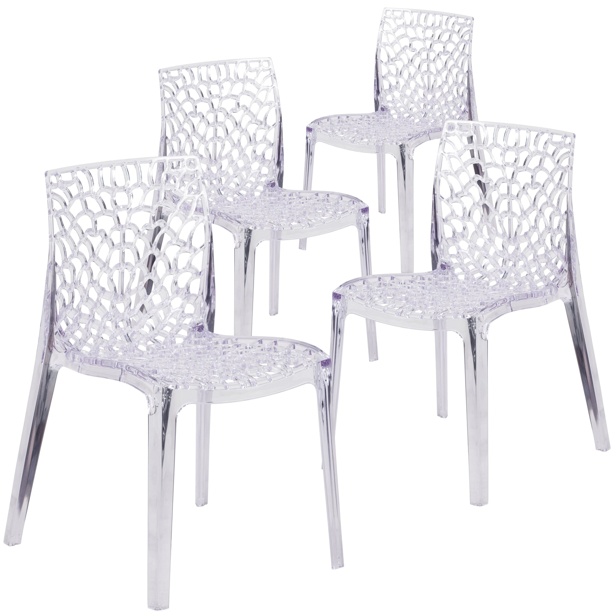 4 Pk. Vision Series Transparent Stacking Side Chair: Clear