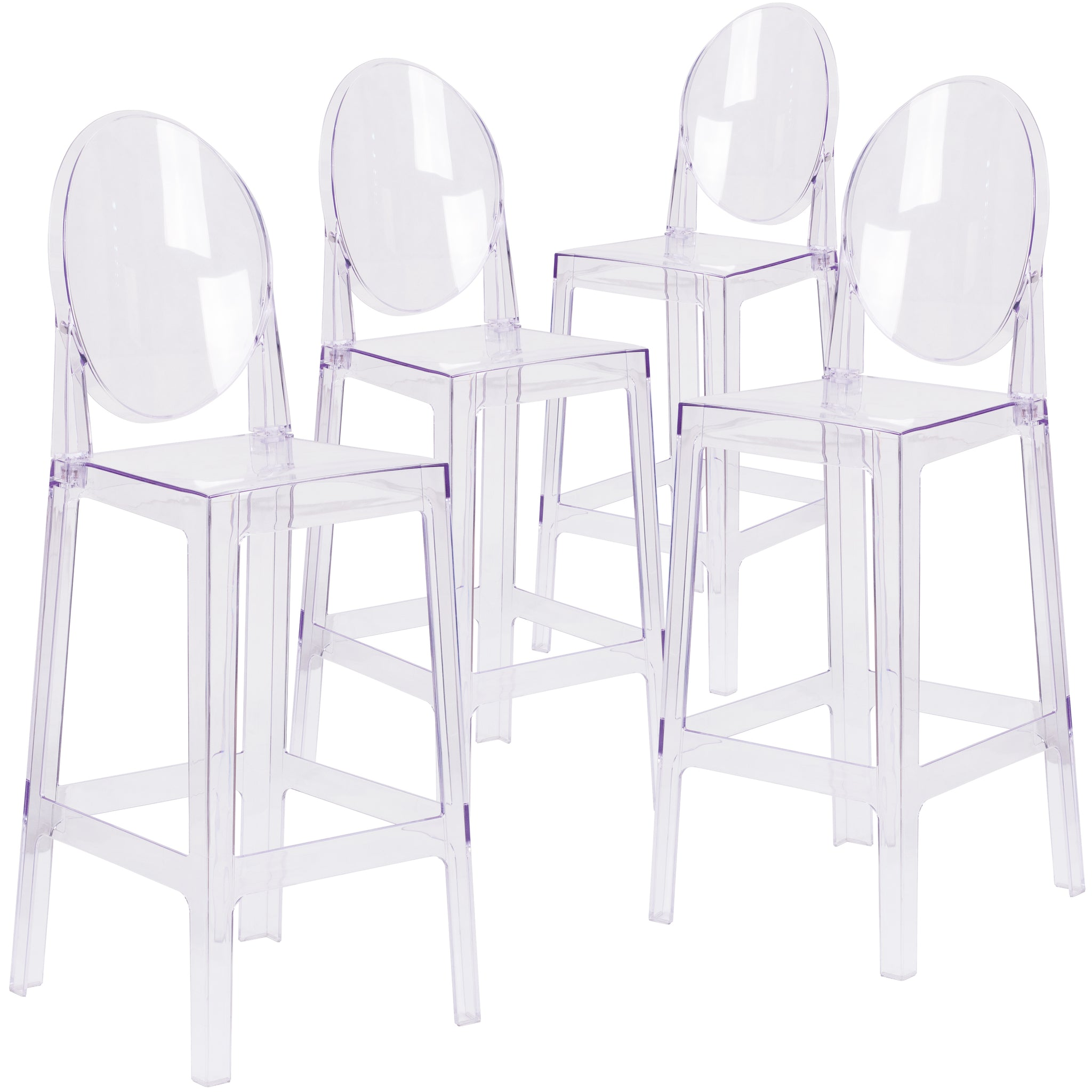 4 Pk. Ghost Barstool in Transparent Crystal with Oval Back: Transparent Crystal