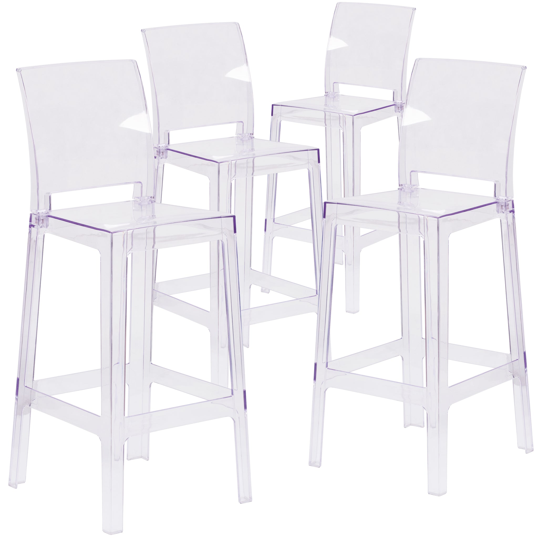 4 Pk. Ghost Barstool in Transparent Crystal with Square Back: Transparent Crystal