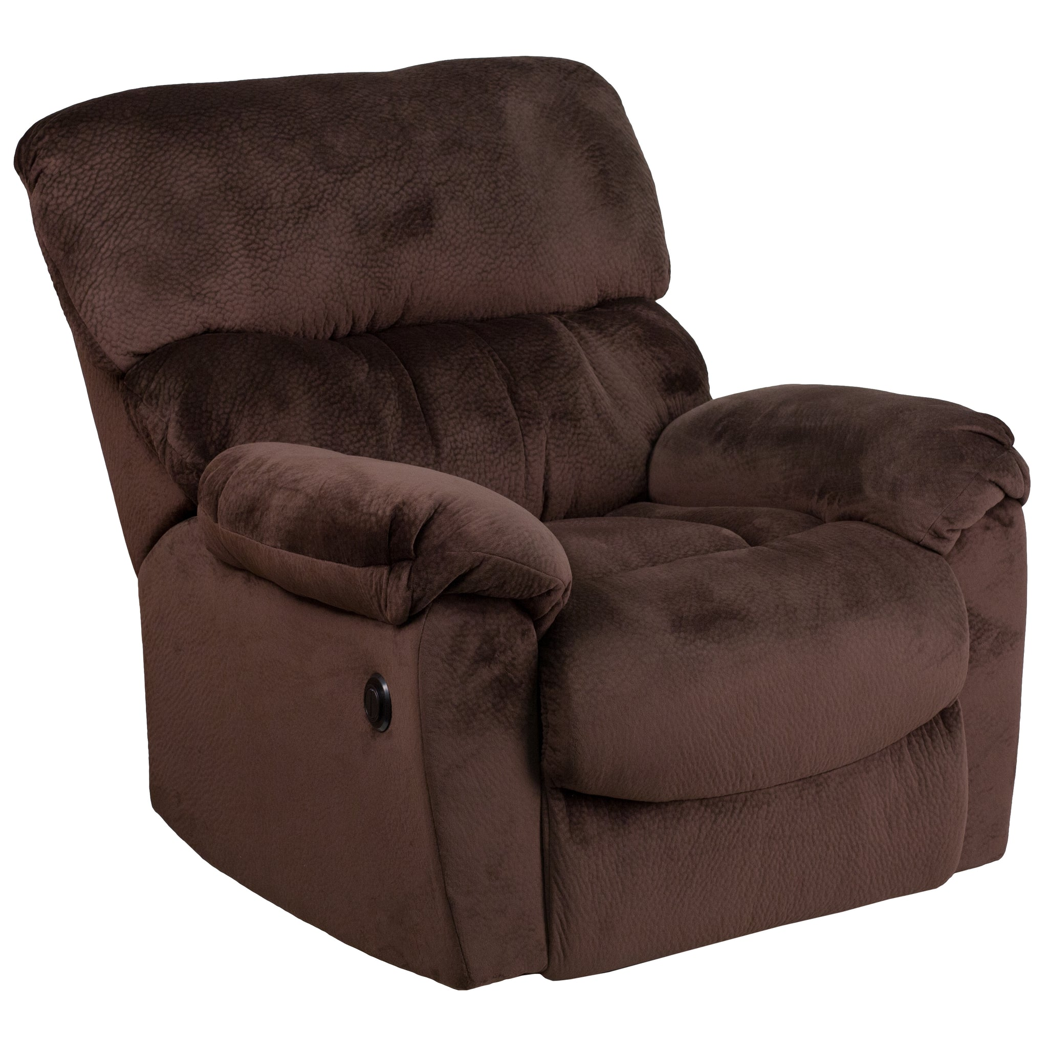 Contemporary Sharpei Microfiber Power Recliner with Push Button: Sharpei Chocolate