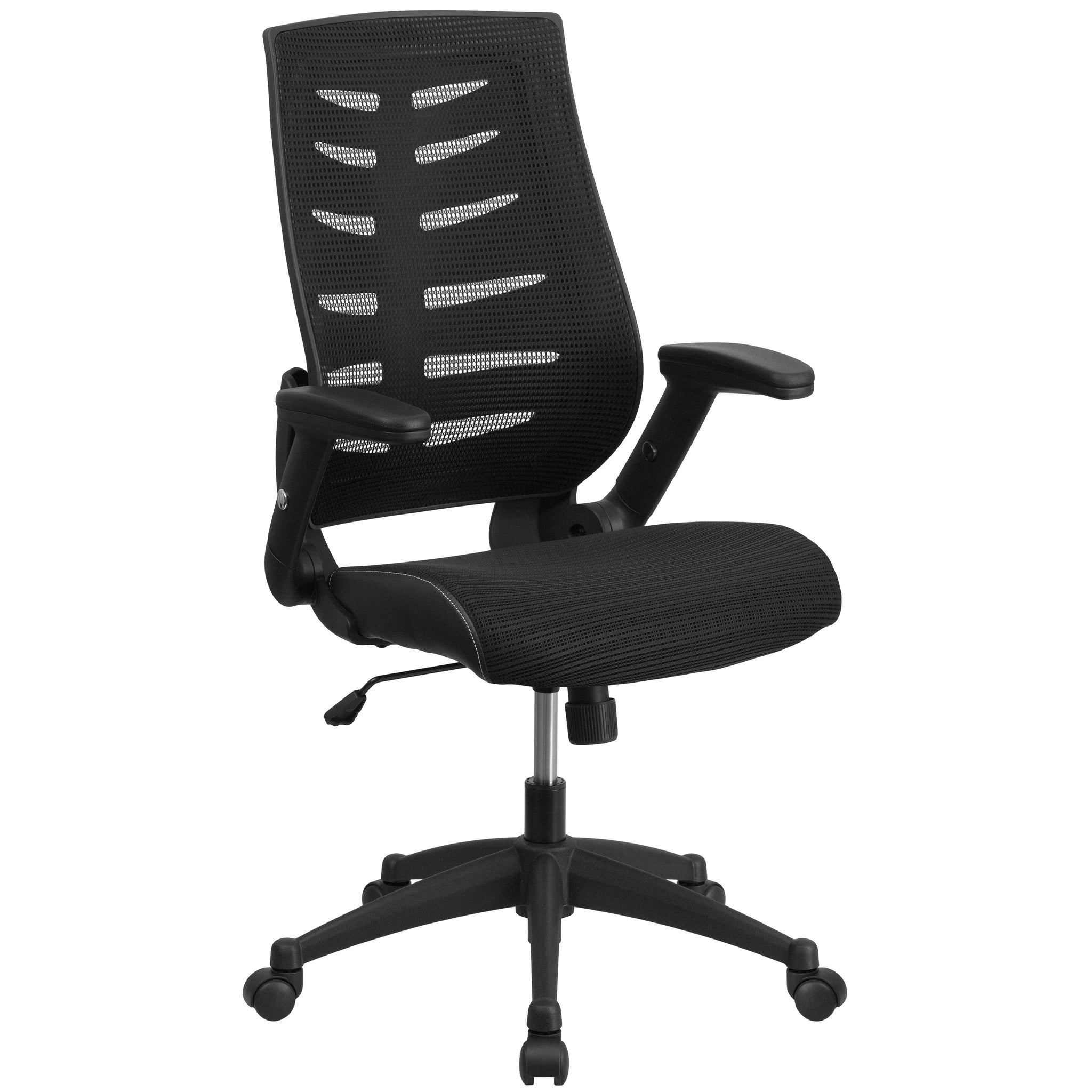 High Back Designer Mesh Executive Swivel Office Chair with Height Adjustable Flip-Up Arms: Black