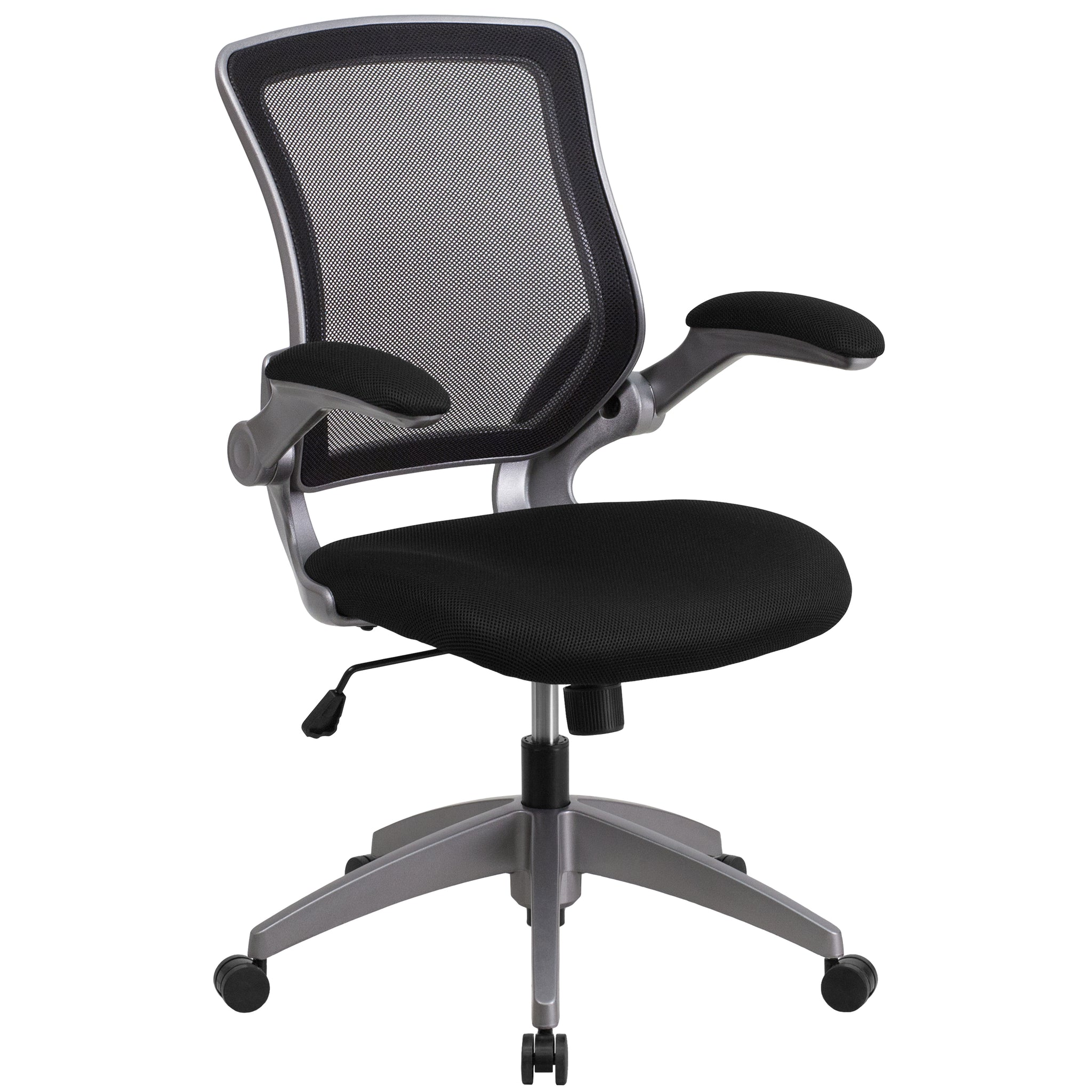 Mid-Back Mesh Swivel Task Chair with Frame and Flip-Up Arms: Gray