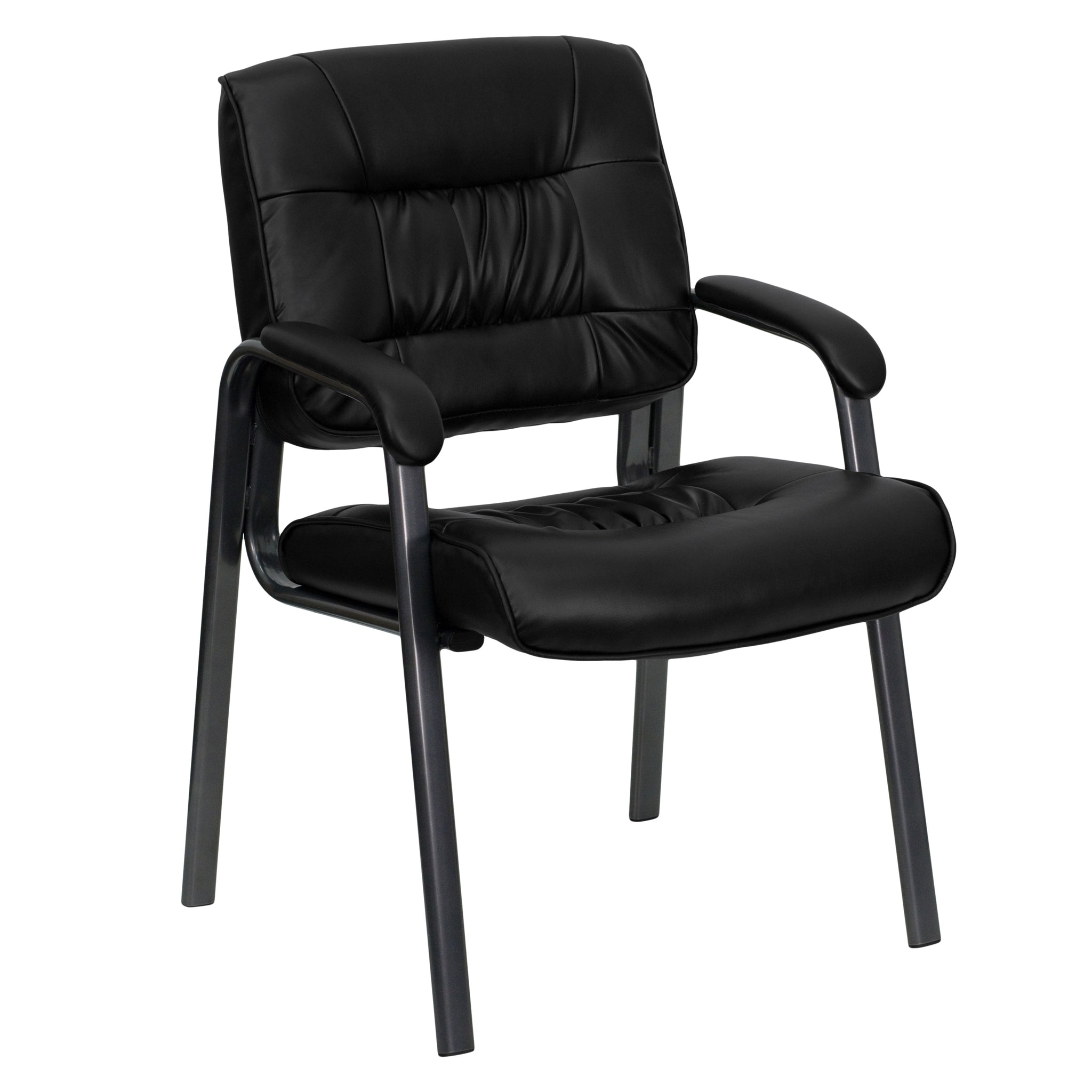 Leather Executive Side Chair with Frame Finish: Black Leather/Titanium Frame