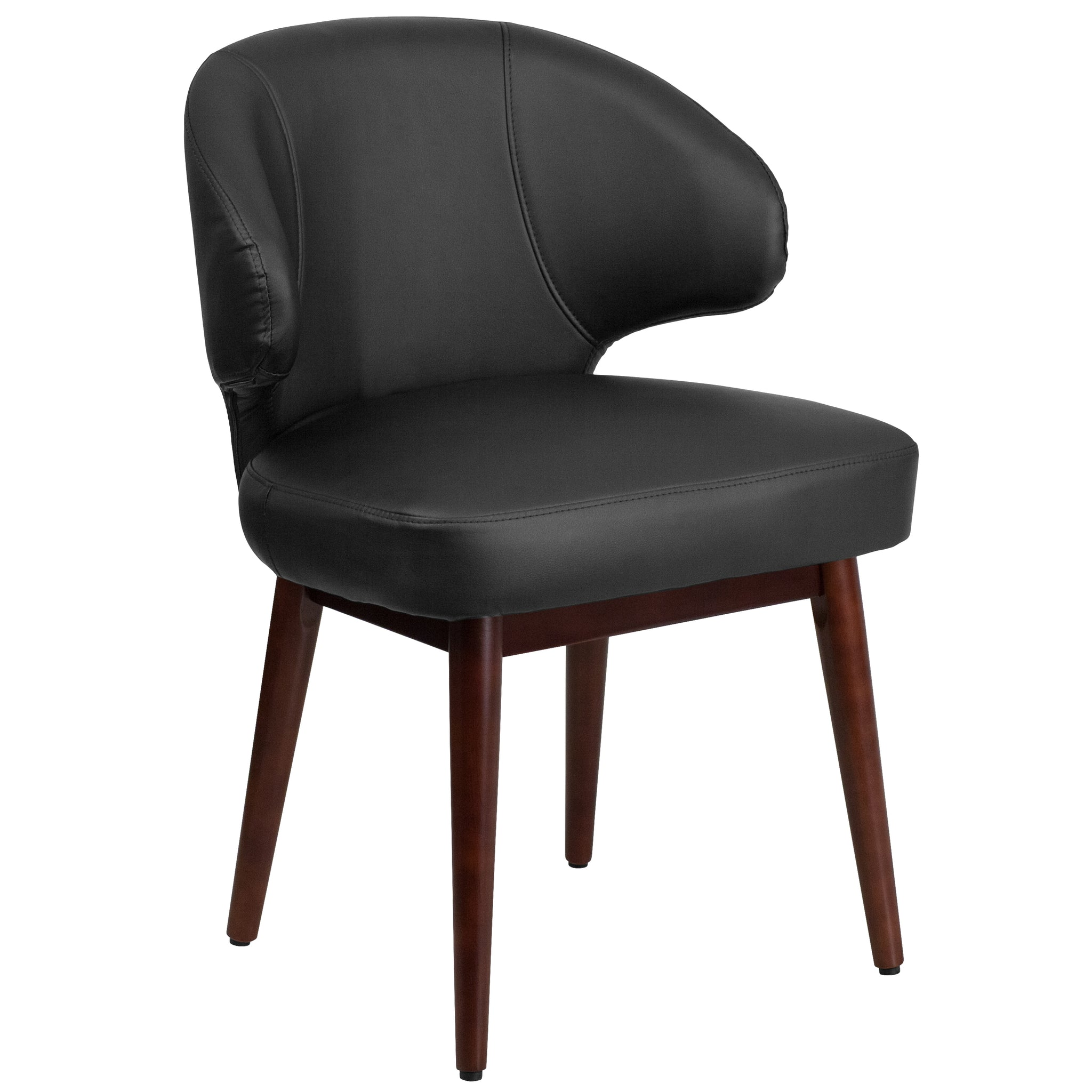 Comfort Back Series Reception-Lounge-Office Chair with Walnut Legs: Burgundy Leather