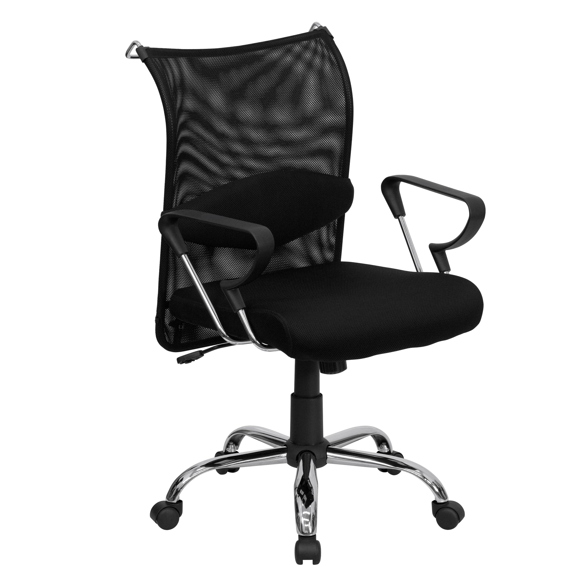 Mid-Back Mesh Swivel Manager's Chair with Adjustable Lumbar Support: Black