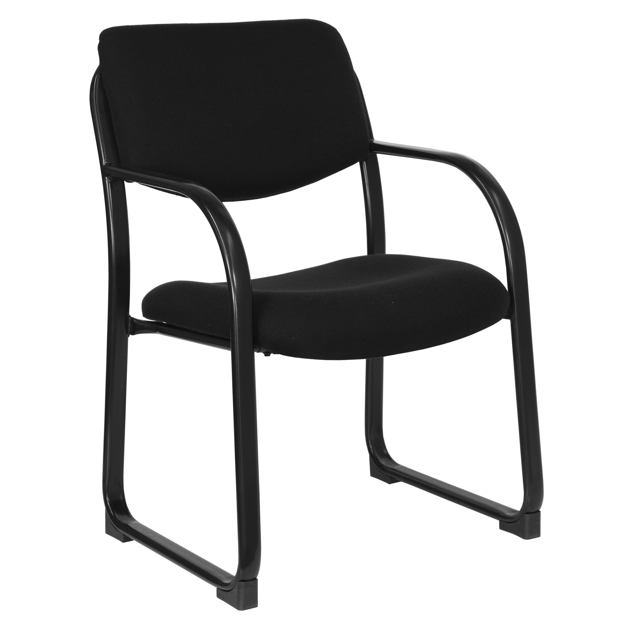 Fabric Executive Side Chair with Sled Base: Black