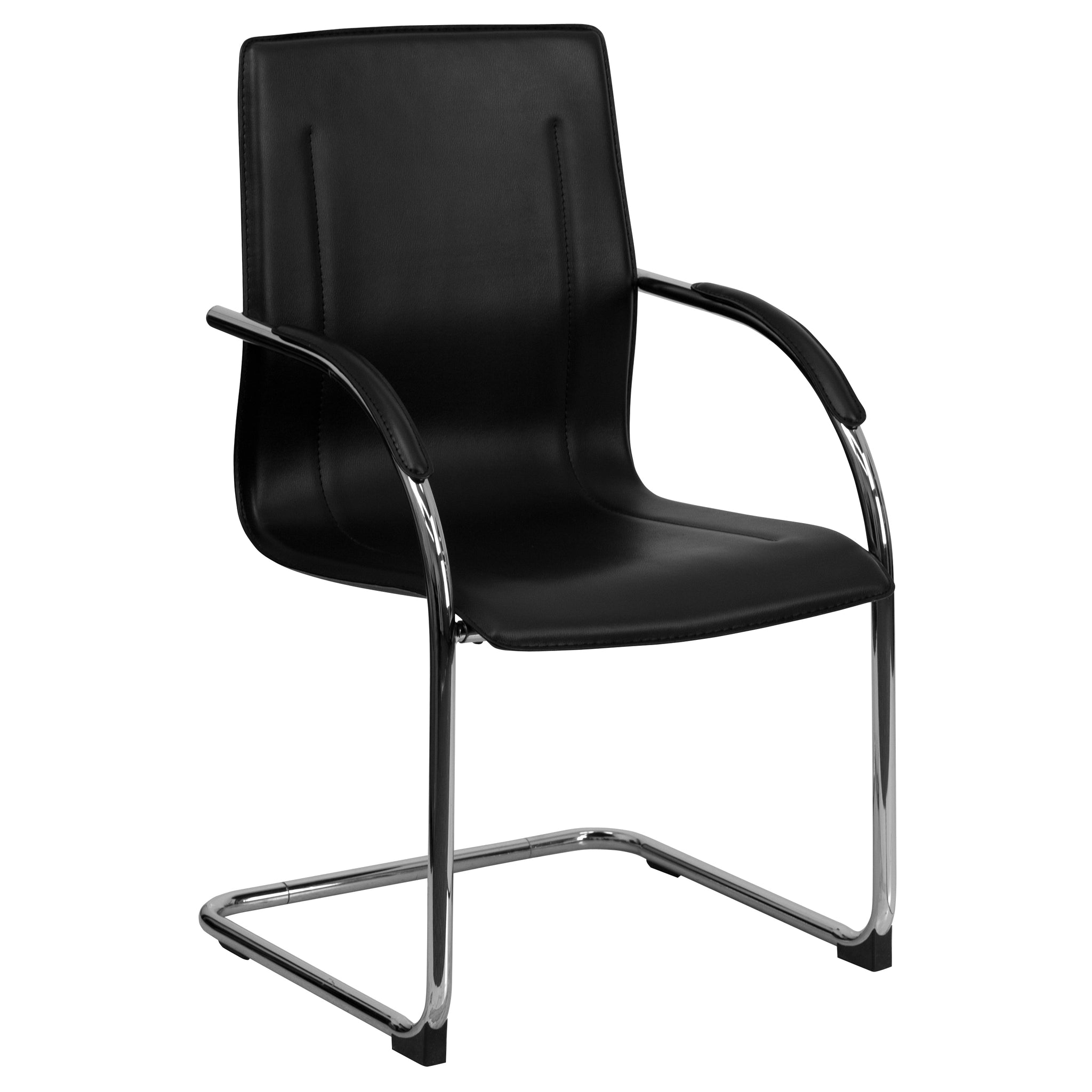 Vinyl Side Chair with Chrome Sled Base: Black