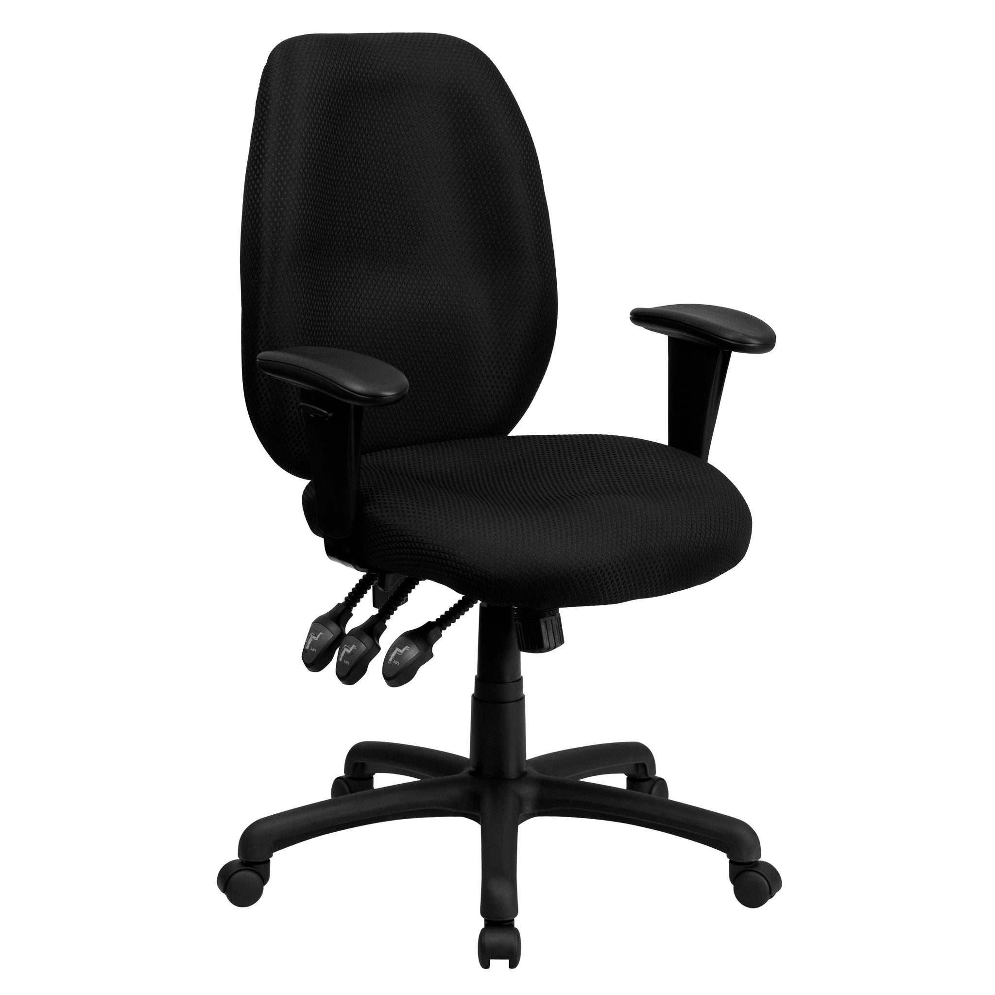 High Back Fabric Multi-Functional Ergonomic Executive Swivel Office Chair with Height Adjustable Arms: Black