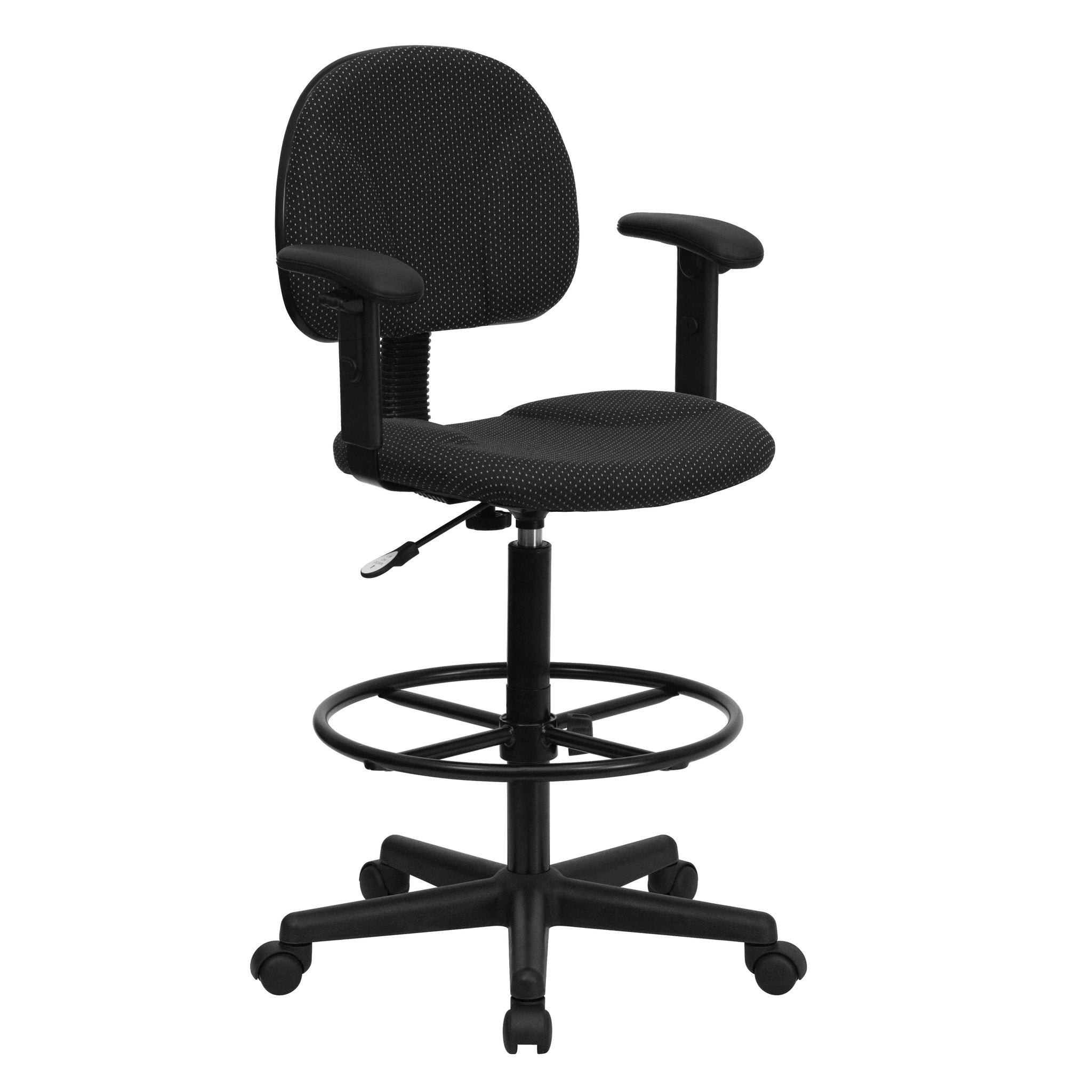 Fabric Ergonomic Drafting Chair with Height Adjustable Arms (Adjustable Range 22.5''-27''H or 26''-30.5''H): Black Patterned