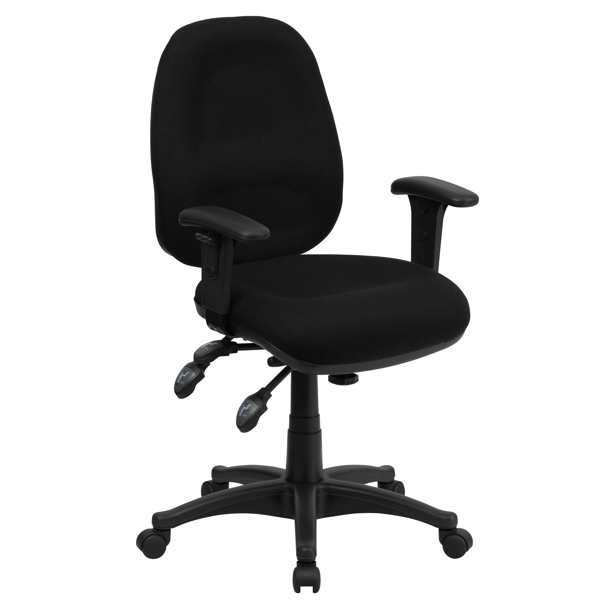 Mid-Back Multi-Functional Fabric Executive Swivel Office Chair: Black