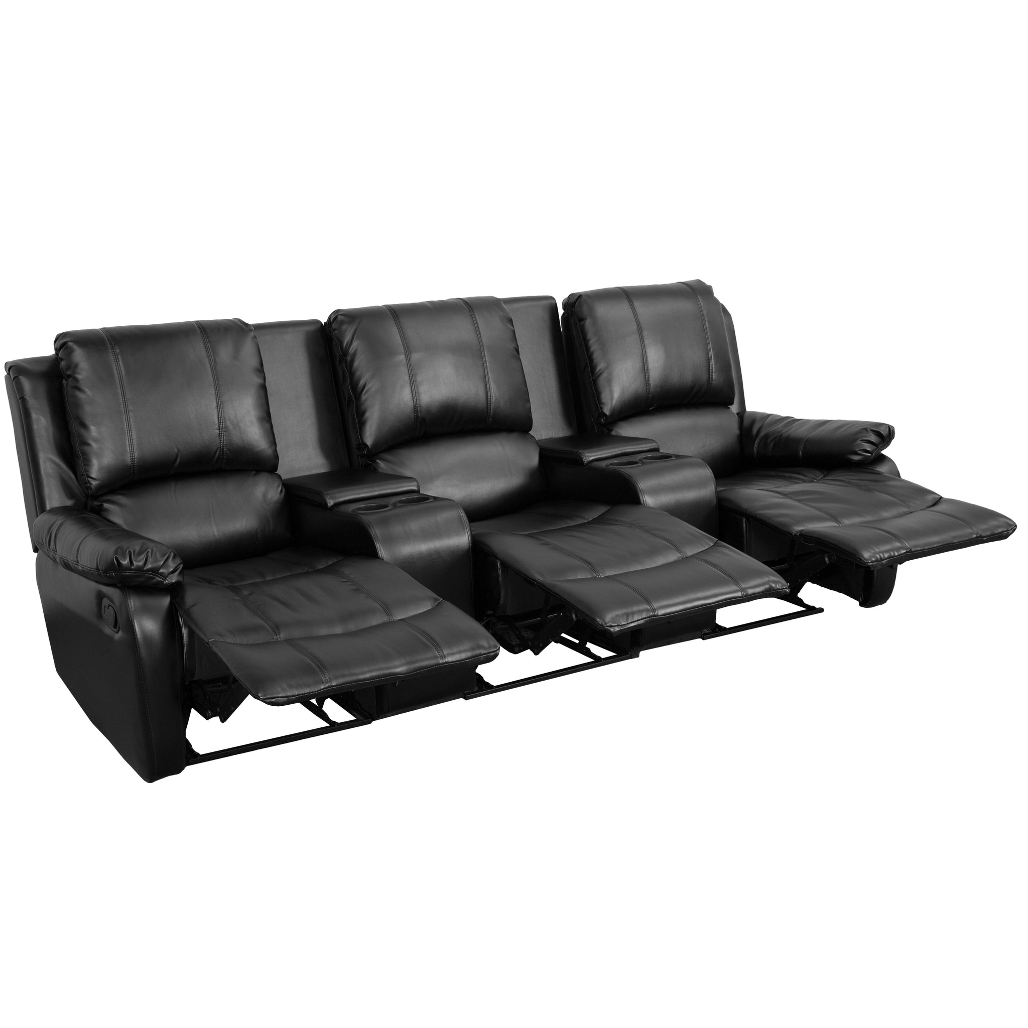 Allure Series 3-Seat Reclining Pillow Back Leather Theater Seating Unit with Cup Holders: Black