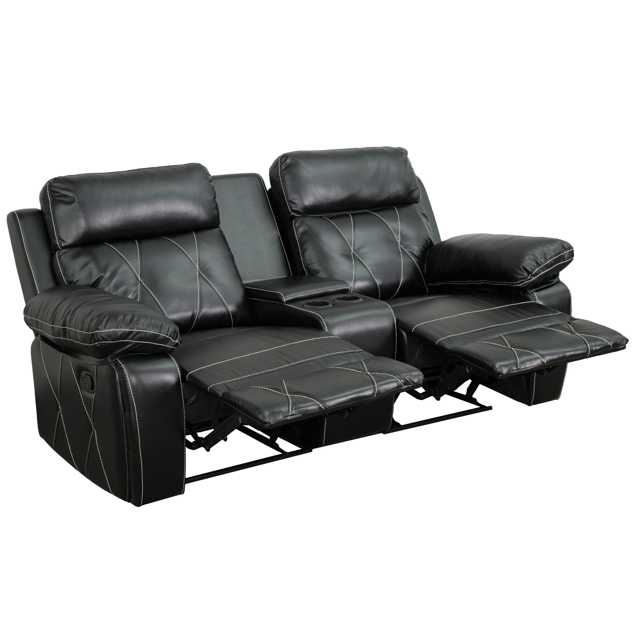 Reel Comfort Series 2-Seat Reclining Leather Theater Seating Unit with Straight Cup Holders: Black