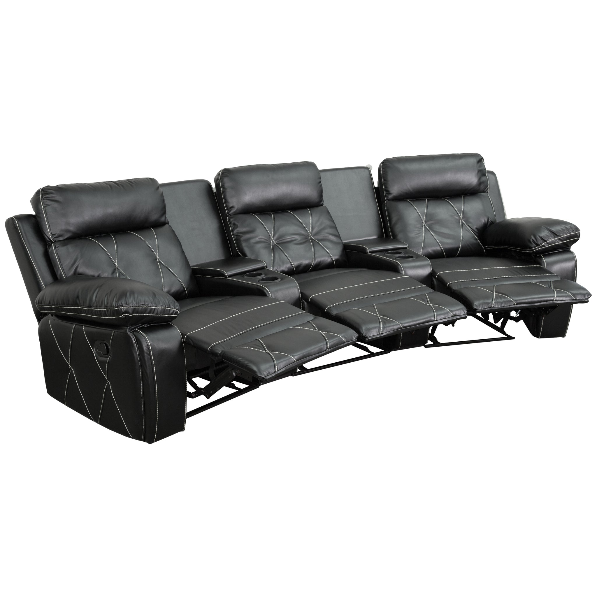 Reel Comfort Series 3-Seat Reclining Leather Theater Seating Unit with Curved Cup Holders: Black