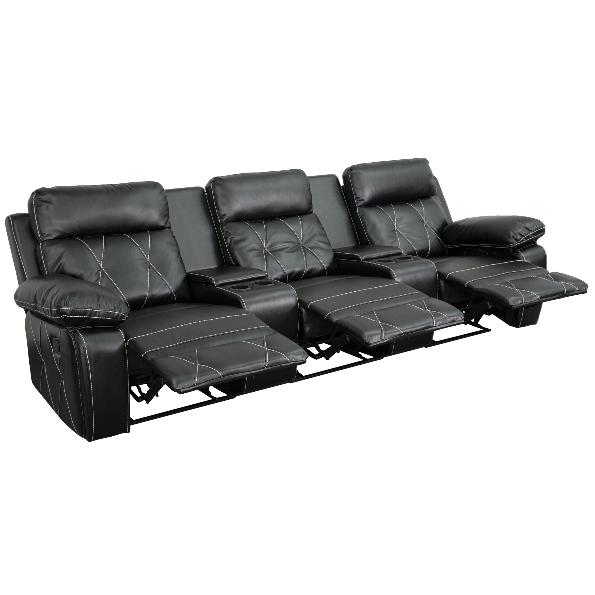 Reel Comfort Series 3-Seat Reclining Leather Theater Seating Unit with Straight Cup Holders: Black