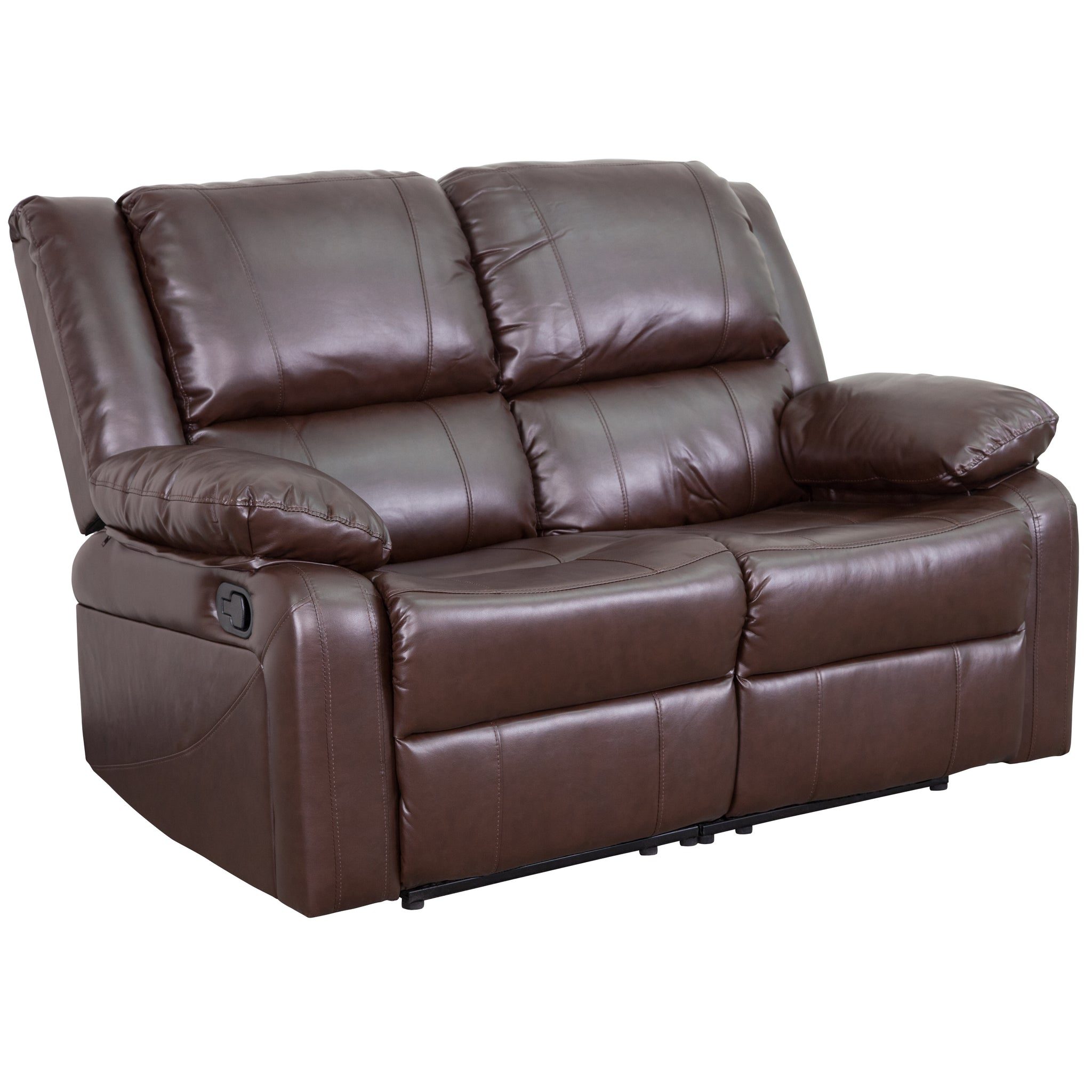 Harmony Series Loveseat with Two Built-In Recliners: Chocolate Brown Microfiber