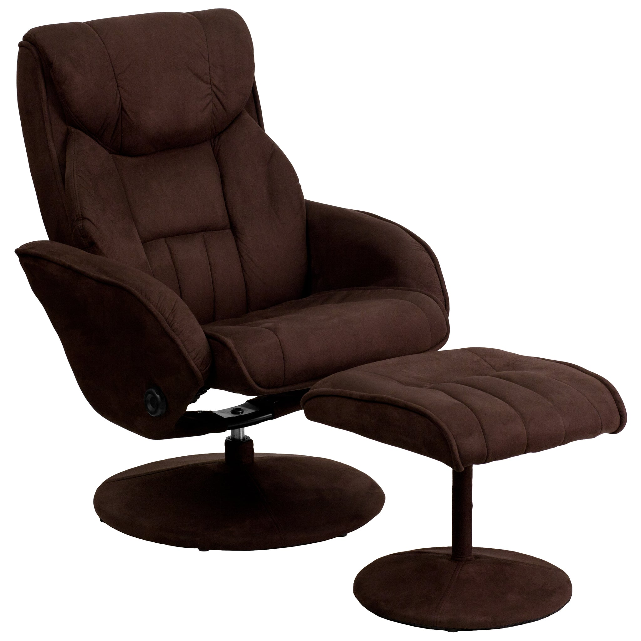 Contemporary Microfiber Recliner and Ottoman with Circular Microfiber Wrapped Base: Brown