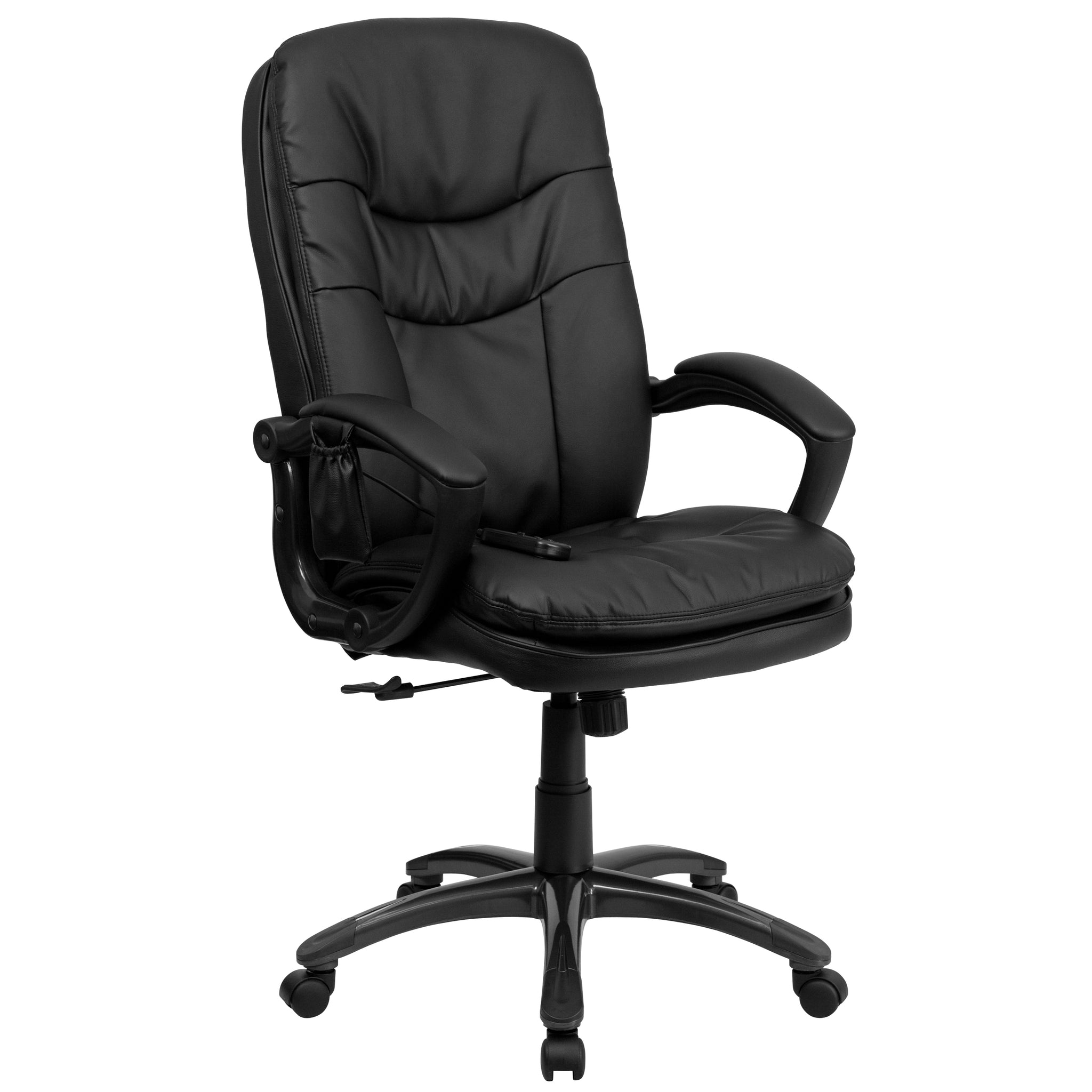 High Back Massaging Leather Executive Swivel Office Chair: Black