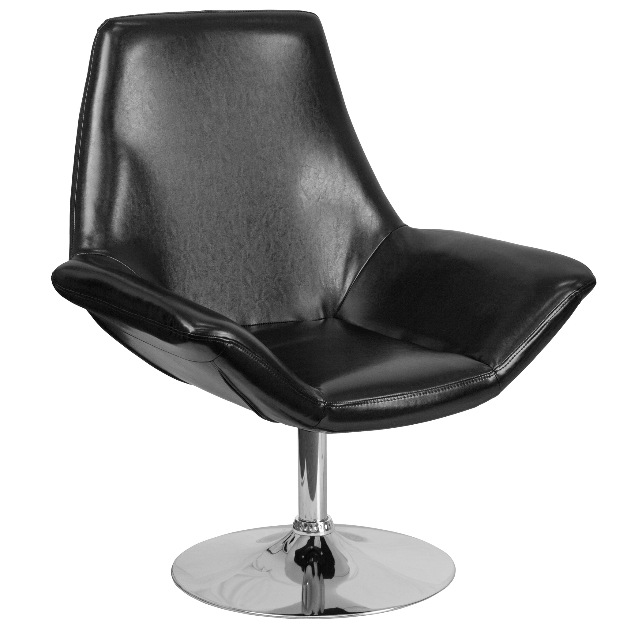 HERCULES Sabrina Series Leather Reception Chair: Black