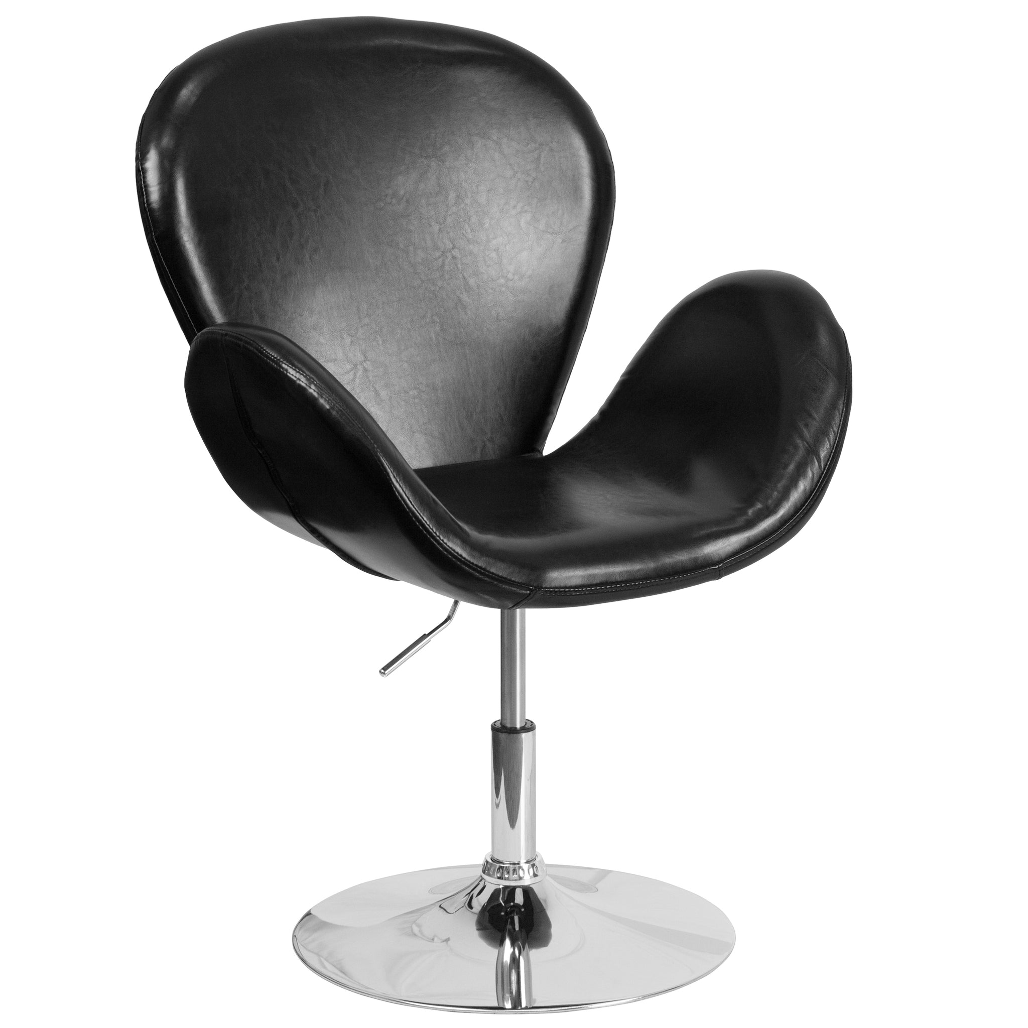 HERCULES Trestron Series Leather Reception Chair with Adjustable Height Seat: Black