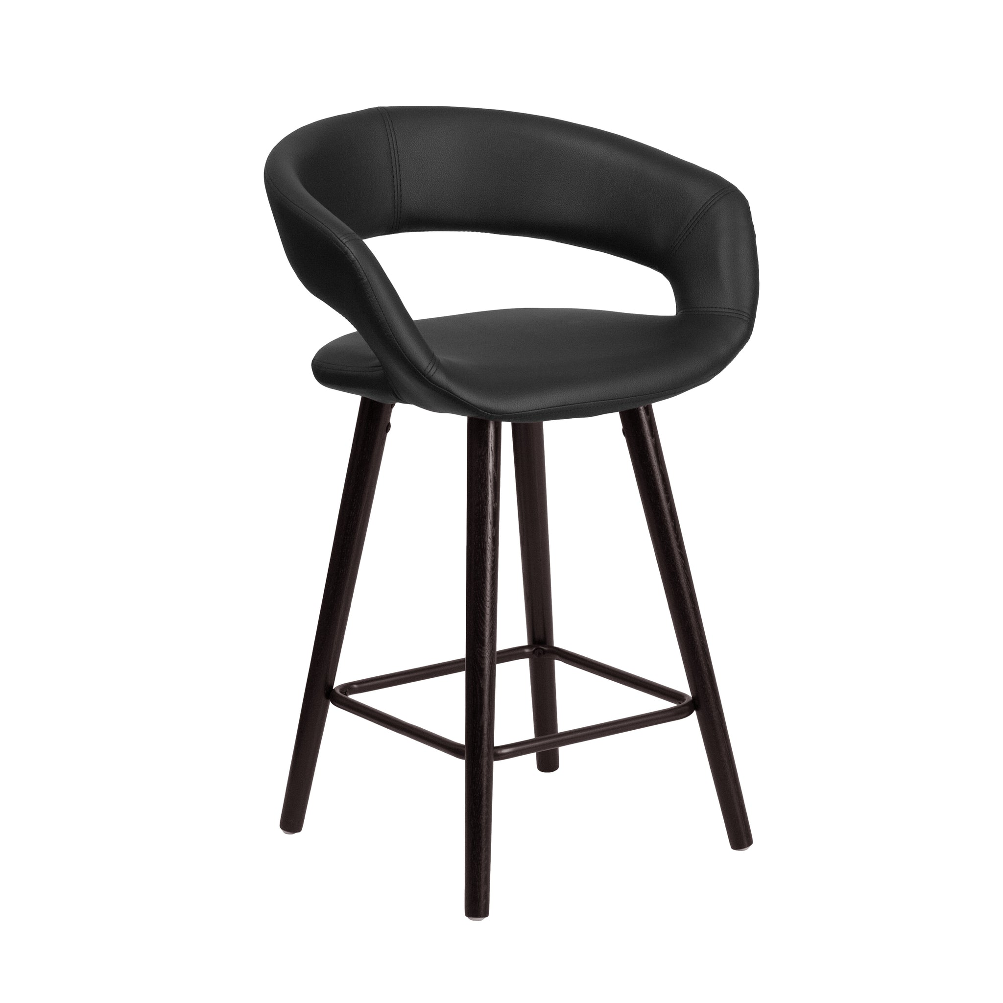 Brynn Series 24'' High Contemporary Vinyl Counter Height Stool with Cappuccino Wood Frame: Black