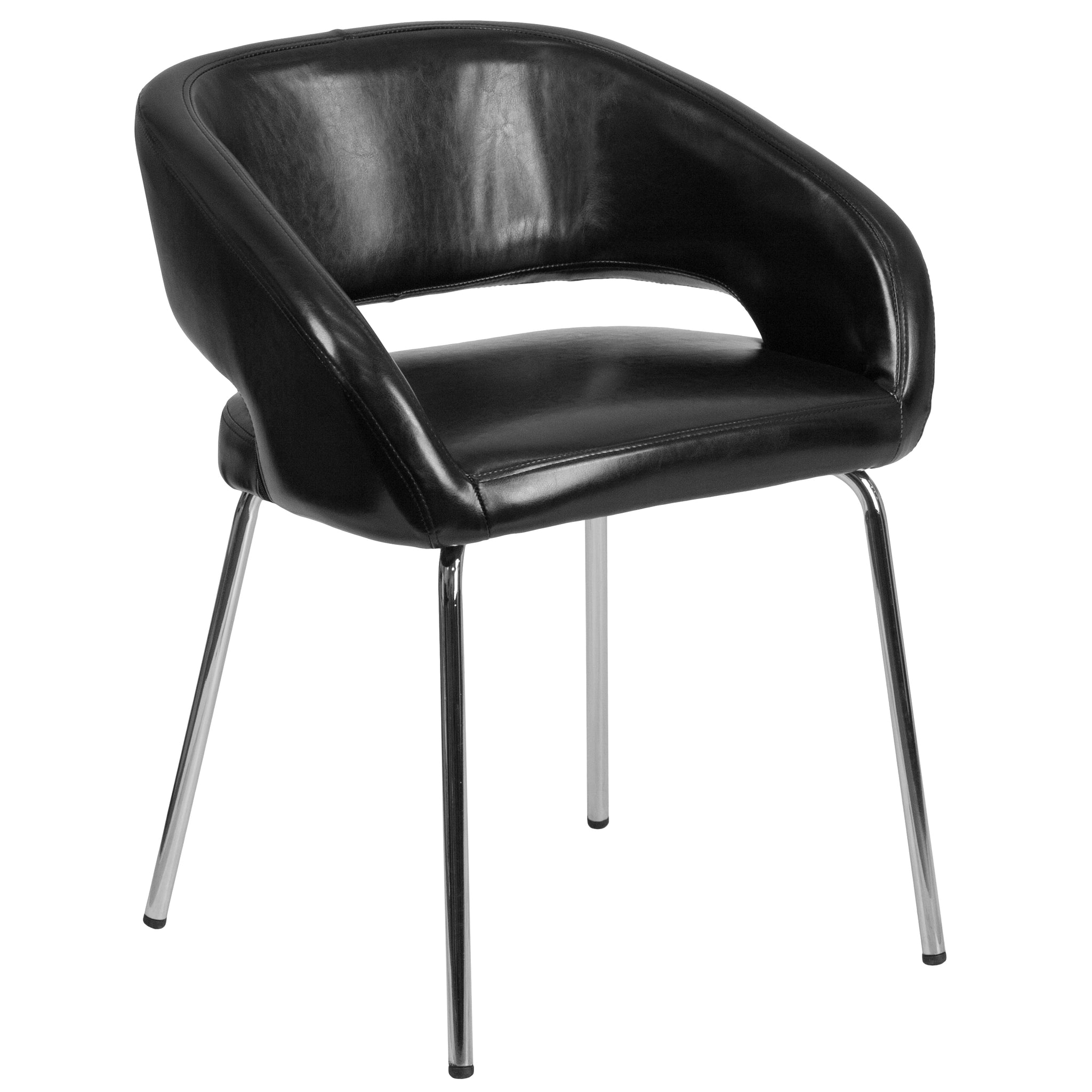 Fusion Series Contemporary Leather Side-Reception-Lounge Chair: Black