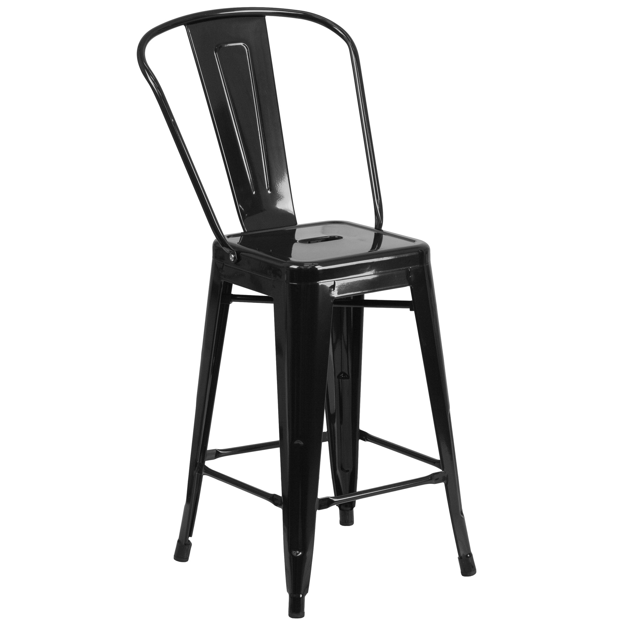 24'' High Metal Indoor-Outdoor Counter Height Stool with Back: Black