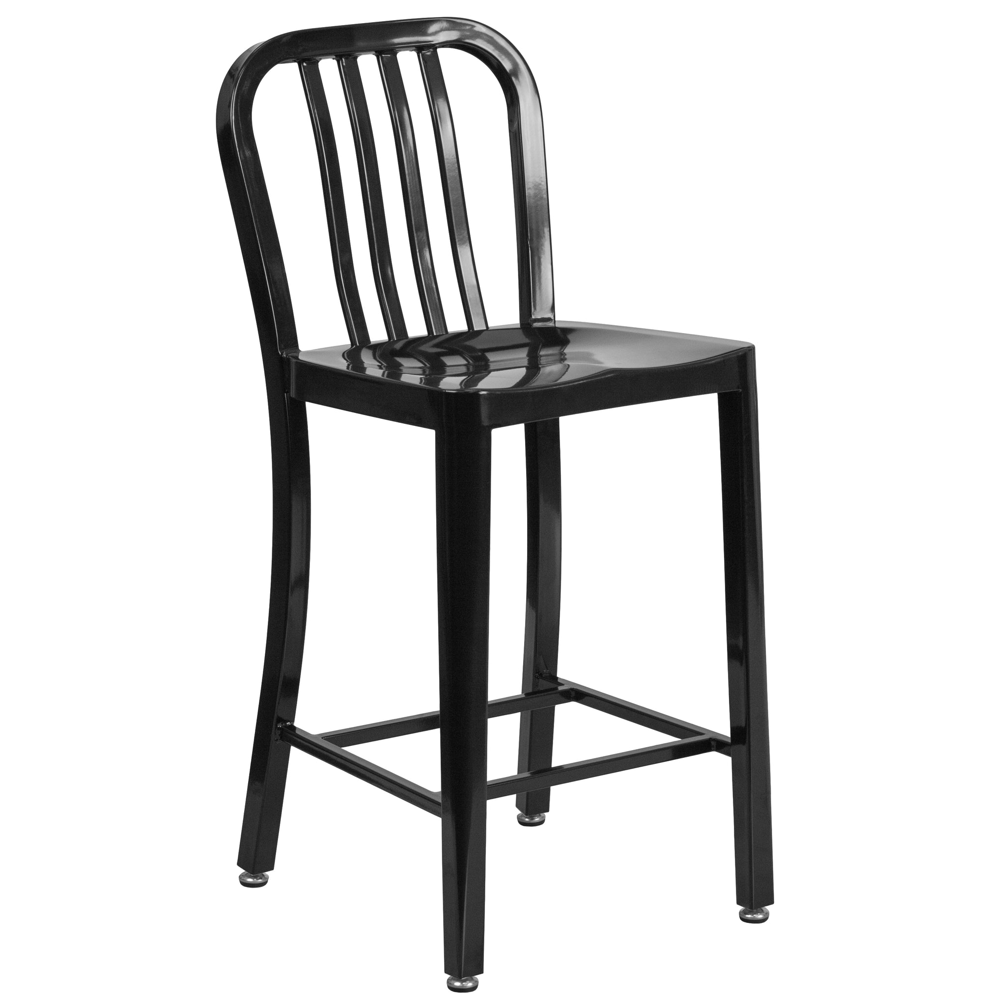 24'' High Metal Indoor-Outdoor Counter Height Stool with Vertical Slat Back: Black