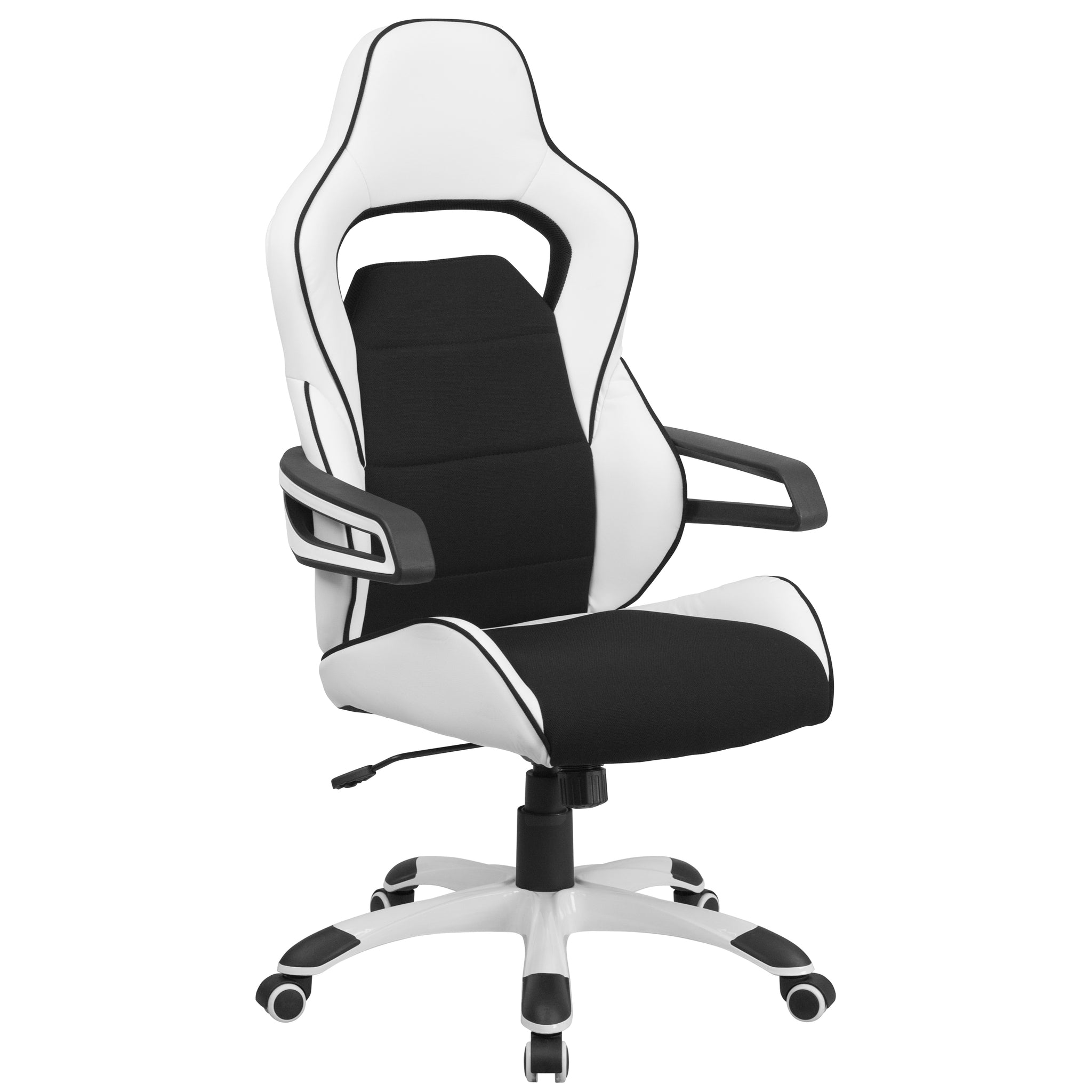High Back Vinyl Executive Swivel Office Chair with Fabric Inserts: Black and White