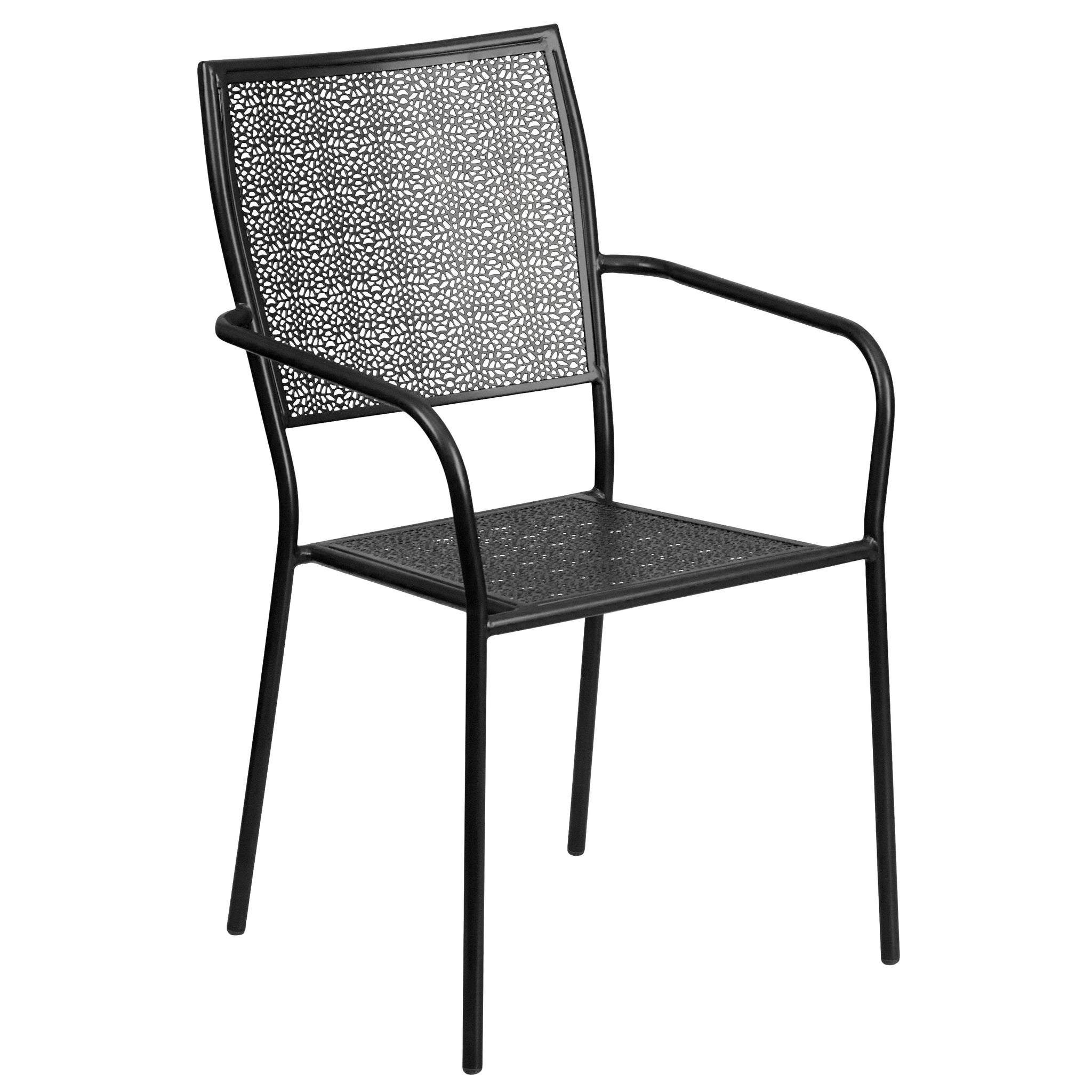 Indoor-Outdoor Steel Patio Arm Chair with Square Back: Coral